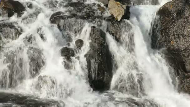 rapid stream of mountain river is flowing over hard rocks and creating small waterfalls