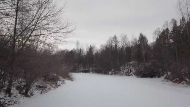 drone is flying low over frozen snowy river in forest in winter day