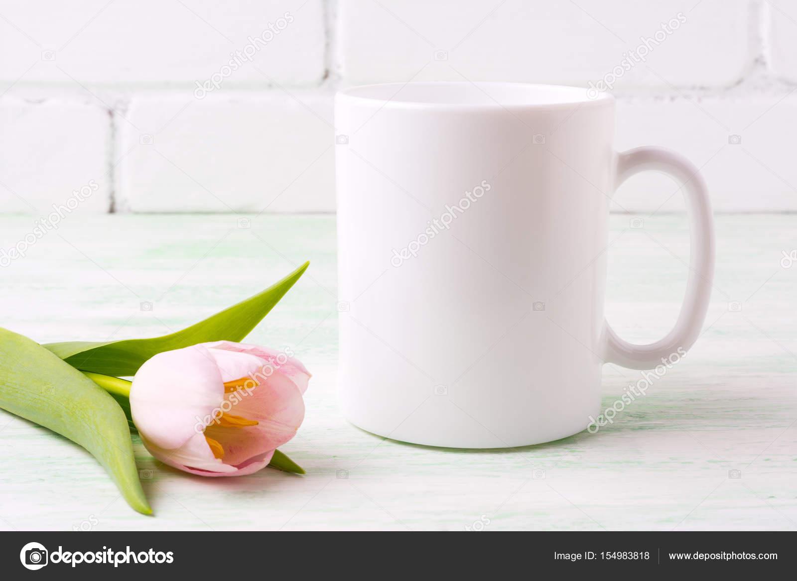 Tasse Café Maquette Avec — Rose Photographie De Blanc Tulipe 8nN0wOkXPZ