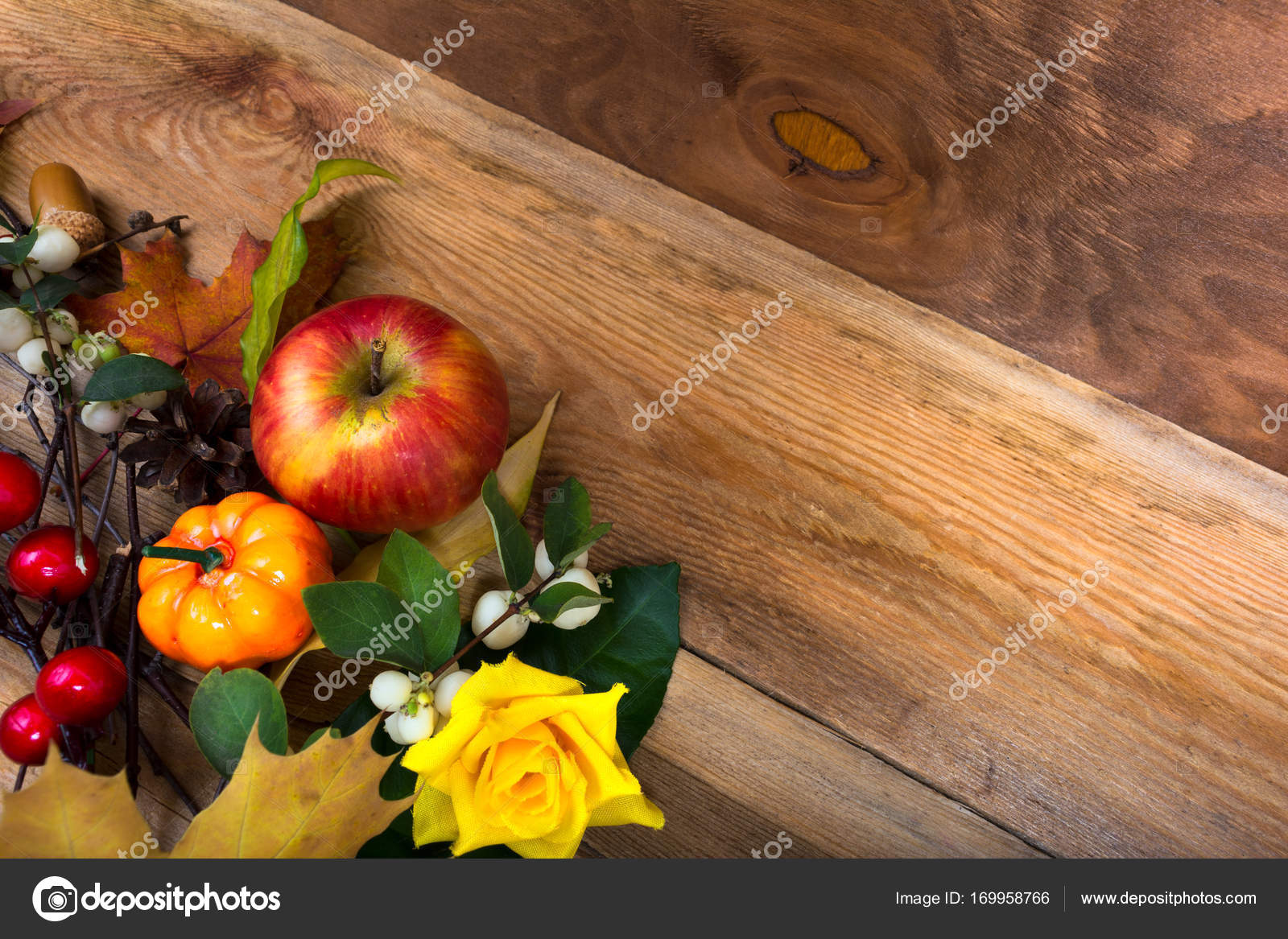 Rustic Fall Background With Apple Pumpkin Yellow Rose Copy Sp Stock Photo