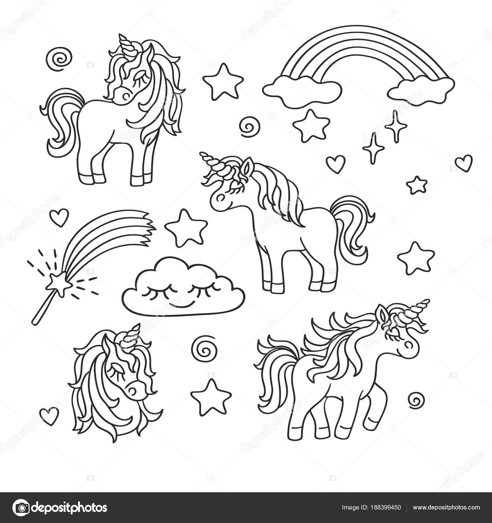 Unicorn Rainbow Magic Wand Vector Sketch Set Stock Vector