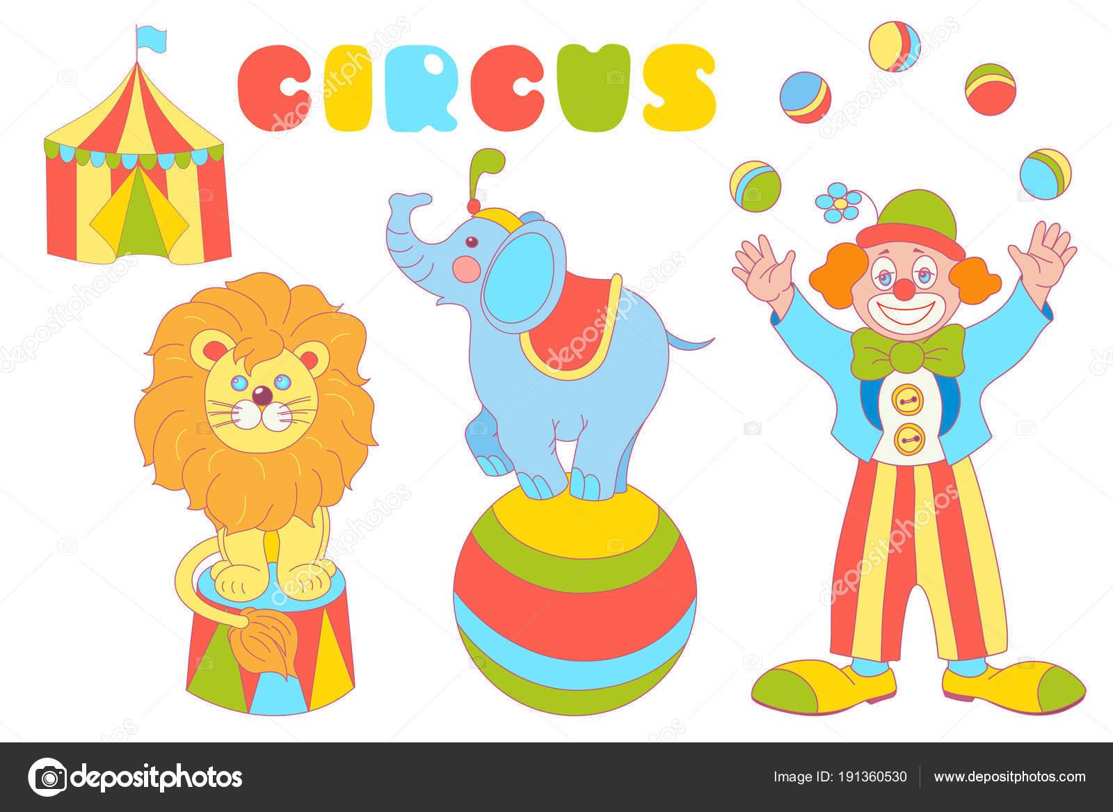 Zirkus Zeichen Clown, Elefant, Löwe Vektor-Satz — Stockvektor ...