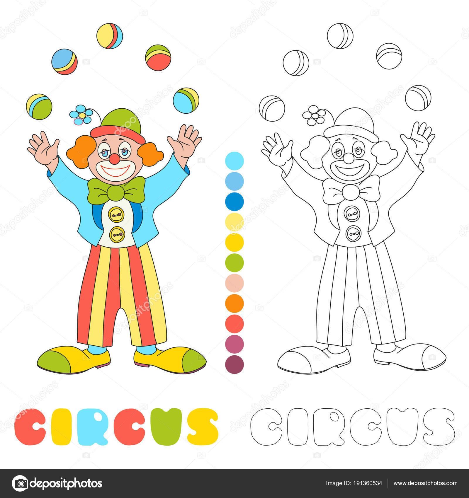 Juggler Di Pagliaccio Di Circo Vettoriale Libro Da Colorare