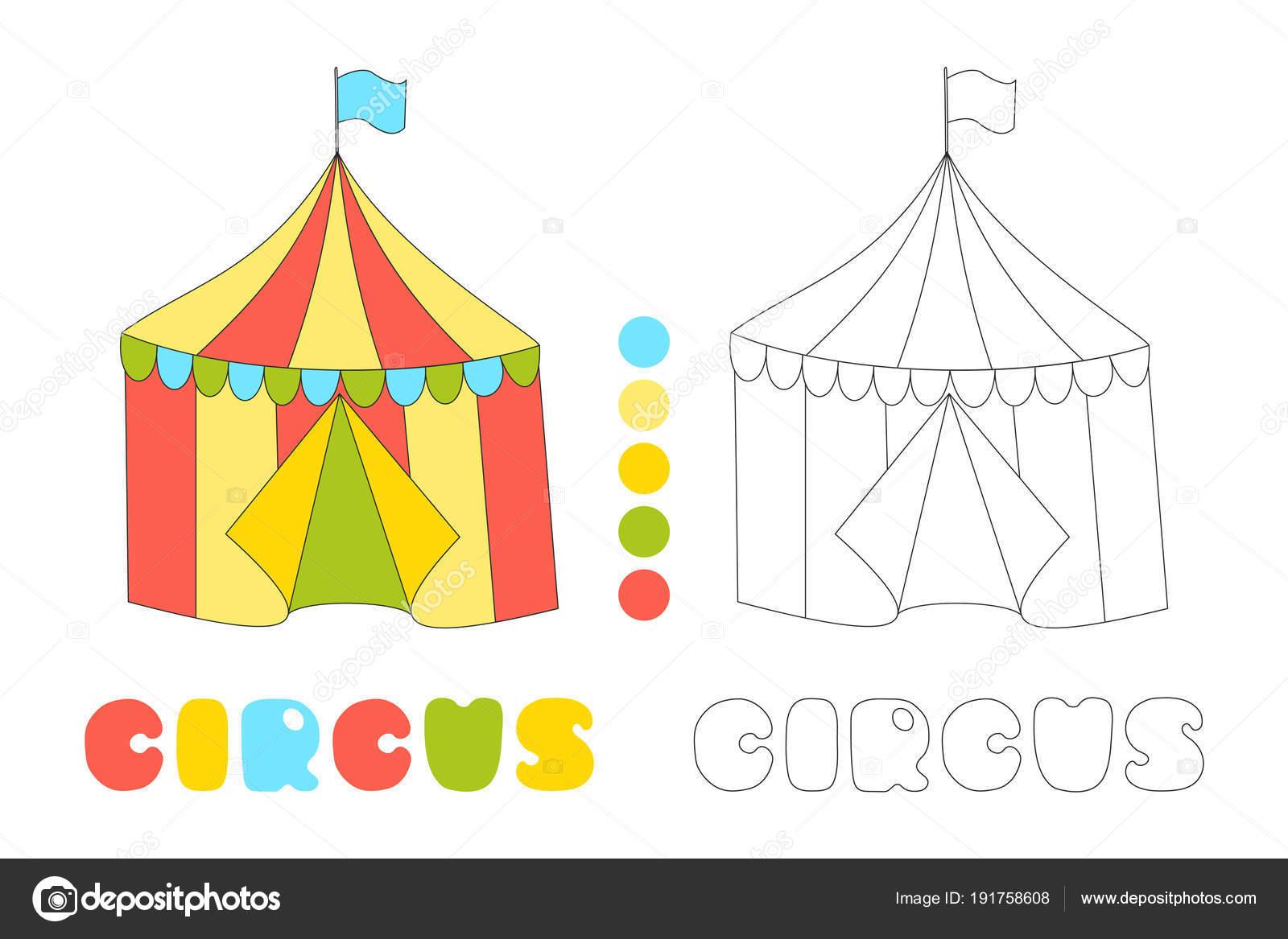 Tenda Di Circo A Strisce Vettoriale Libro Da Colorare Vettoriali