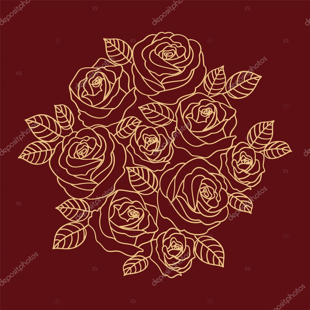 Floral vector design with beige outline roses wreath