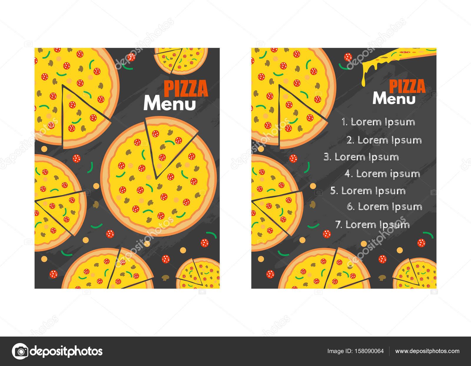 Fondo de vector del menú de pizza. Restaurante cafetería menú ...