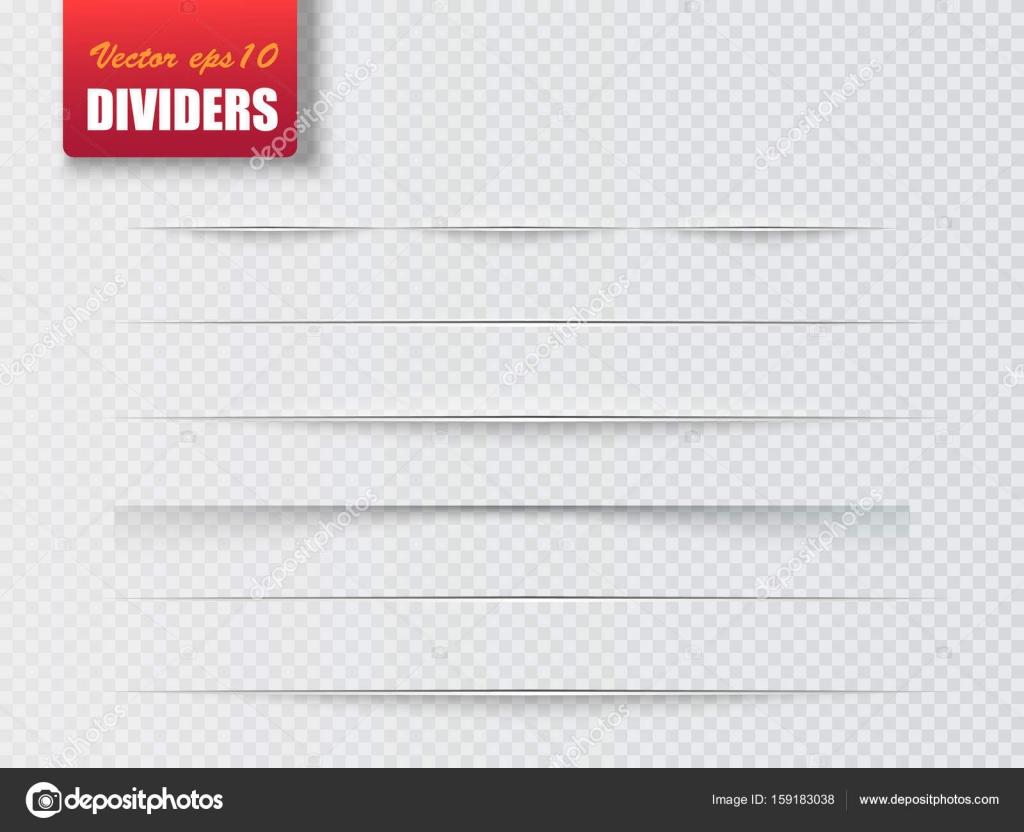 Separadores aislados sobre fondo transparente. Divisores de sombra ...