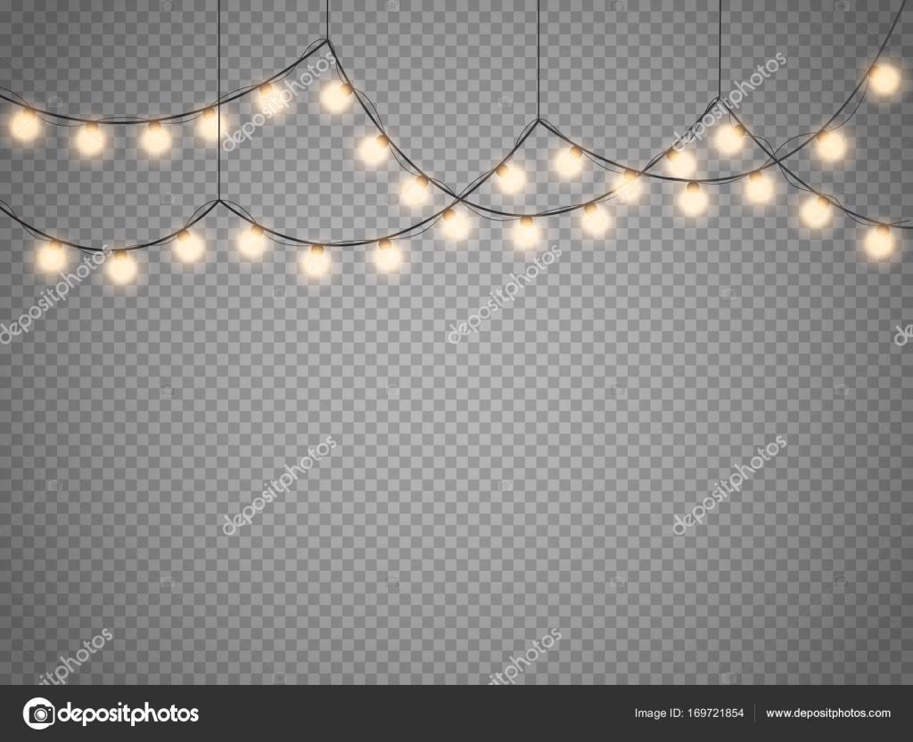 Christmas Lights Transparent Background.Christmas Lights Isolated On Transparent Background Vector