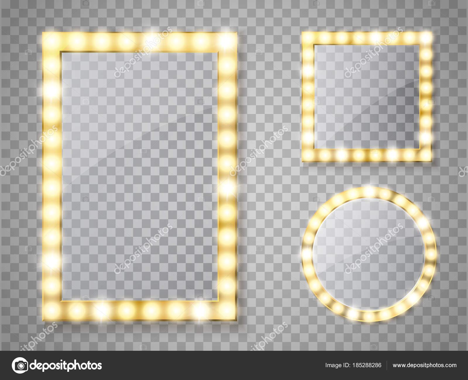 Specchi Con Luci Per Trucco.Specchio Per Il Trucco Isolato Con Luci Quadrato Di Vettore E Telai