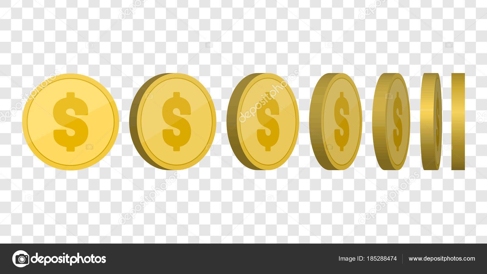 Goldene Münzen Vorlage. Geld setzen isoliert. Vektor — Stockvektor ...