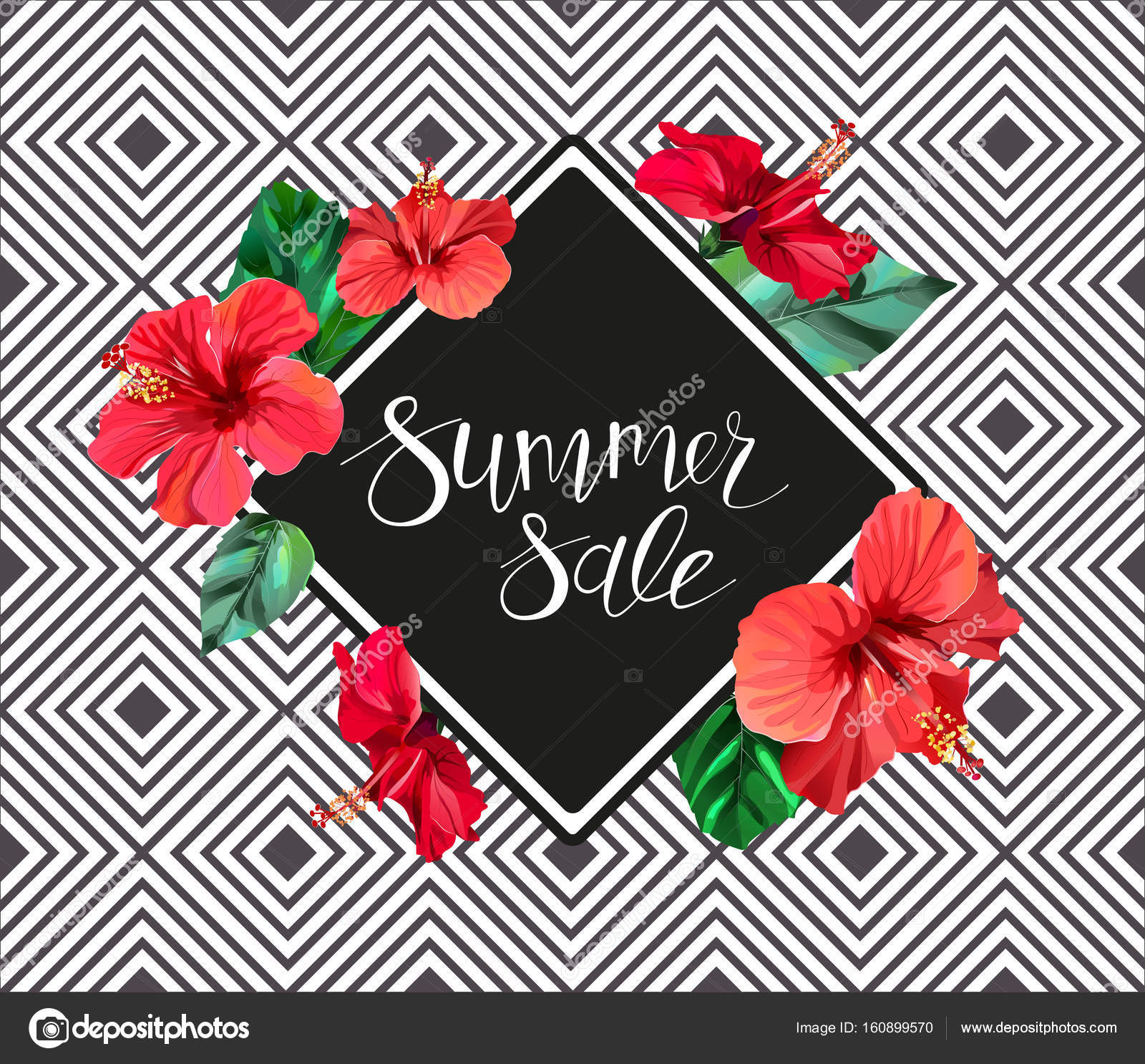 Summer sale announcement poster banner flyer composition with summer sale announcement poster banner flyer composition with lettering on hibiscus flowers and izmirmasajfo