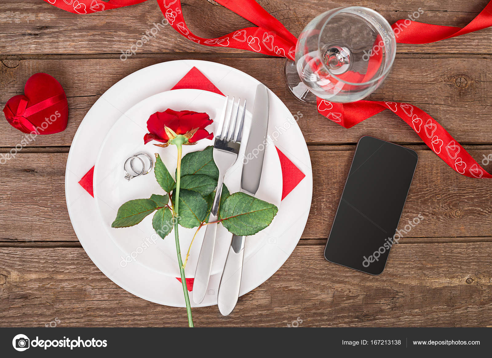 Valentines Day Dinner Table Setting With Red Ribbon Rose Knife And