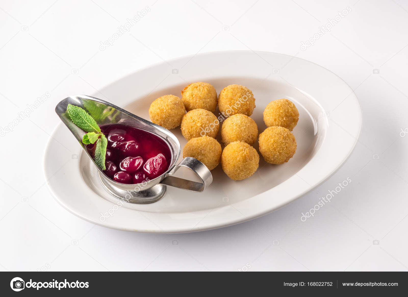 Cheese balls appetizers with sauce on a white plate u2014 Stock Photo & Cheese balls appetizers with sauce on a white plate u2014 Stock Photo ...
