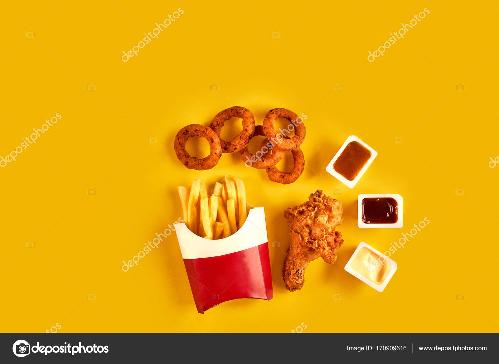 Take Away Composition French Fries Hamburger Mayonnaise And Ketchup Sauces On Yellow Background Menu Or Receipt Photo By