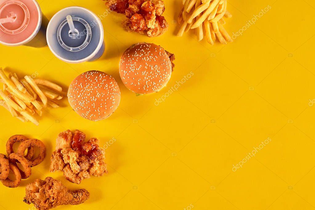 Fast Food Set Menu Yellow Gradient Background Fast Food: Fast Food Dish On Yellow Background. Fast Food Set Fried