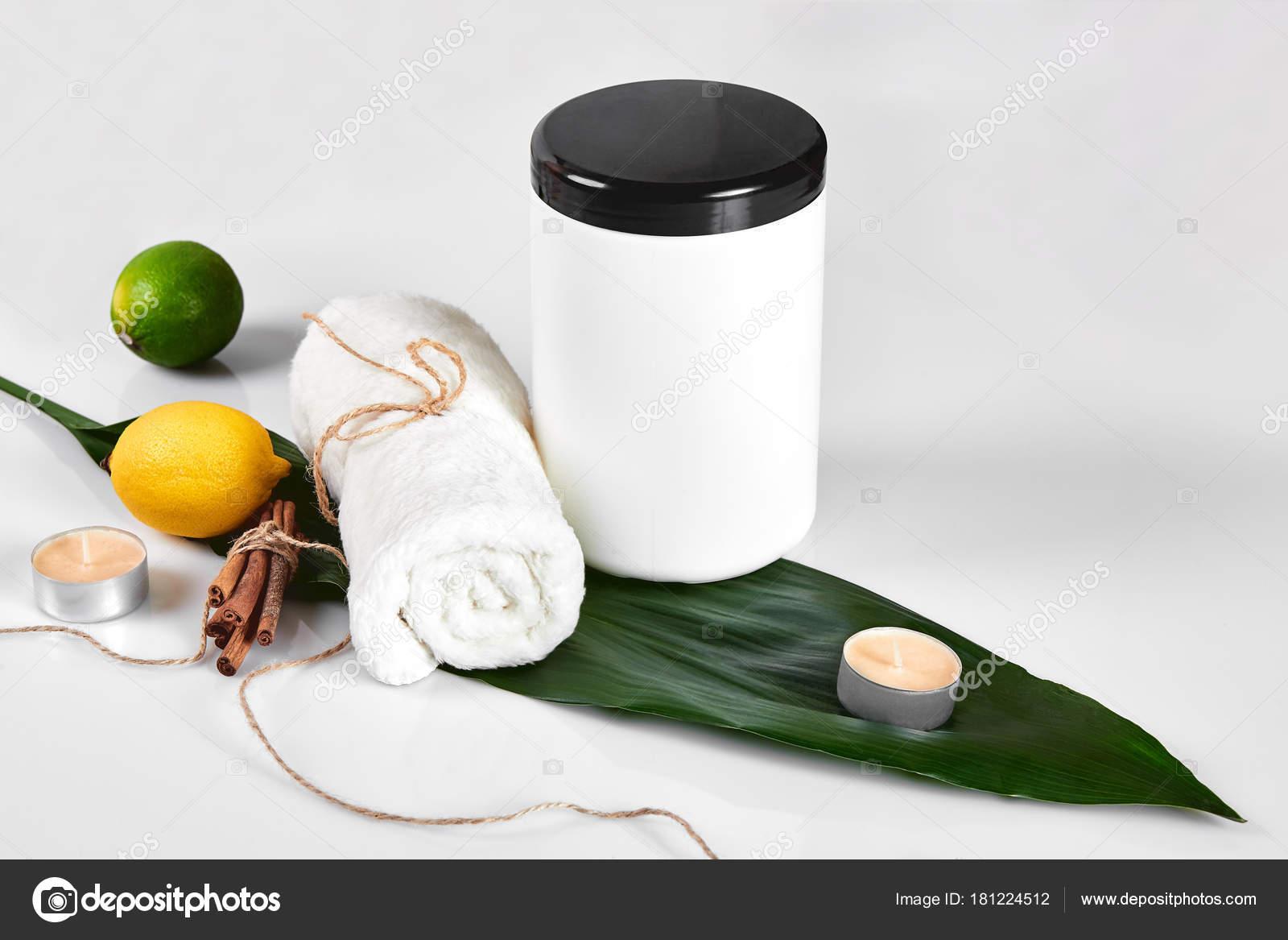 Skin care beauty treatment with jar of body moisturizer