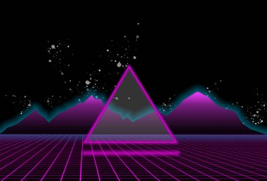 80s style sci-fi, black starry sky background behind purple mountains and triangle in the middle of illustration. futuristic poster template.