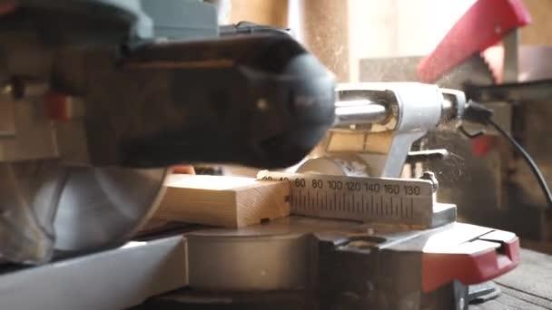 Carpenter pomocí kotoučová pila na dřevo v zblízka