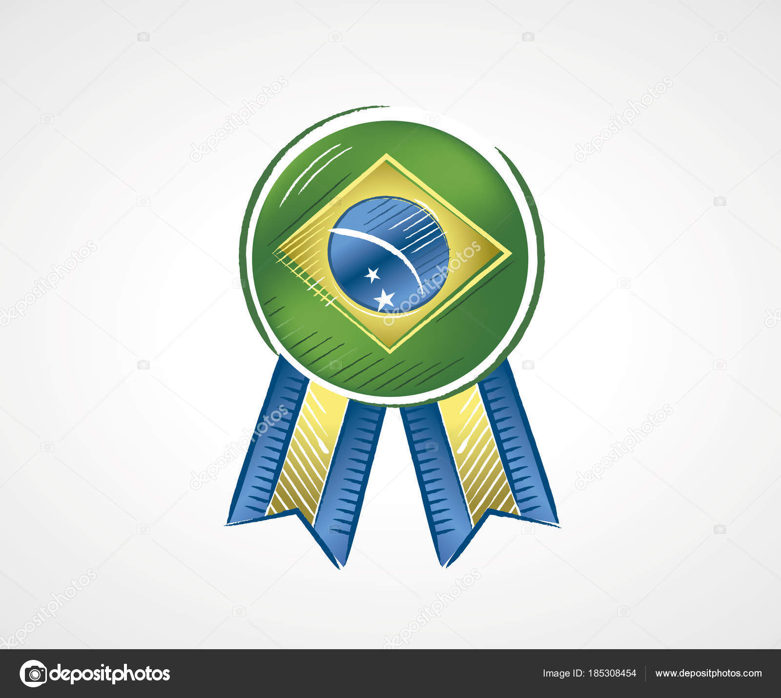 Medal with the flag of Brazil with vivid colors in draft