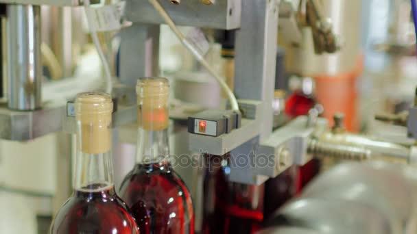 Lahví červeného alkoholu jsou uzavírací zátky na dopravník