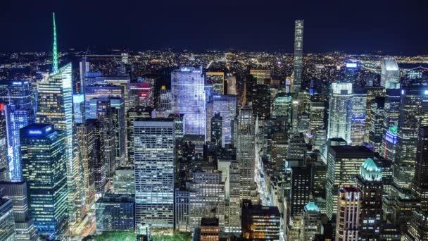 Neuvěřitelná Ny noční pohled shora. Obchodní čtvrti Manhattan
