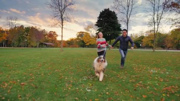 Asiat a běloška v parku se svým psem. Happy dohromady, směje se