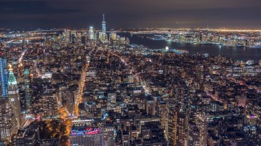 USA, New York City, Manhattan aerial panorama cityscape skyline. Wide shot