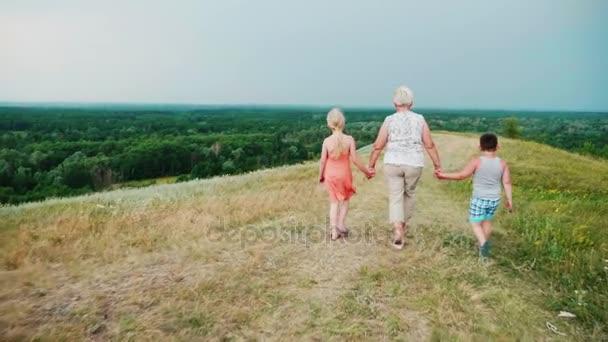 Großmutter für die Hände mit zwei Enkelkindern - ein Mädchen und ein Junge spazieren durch die lebendige ländliche Landschaft. zurück