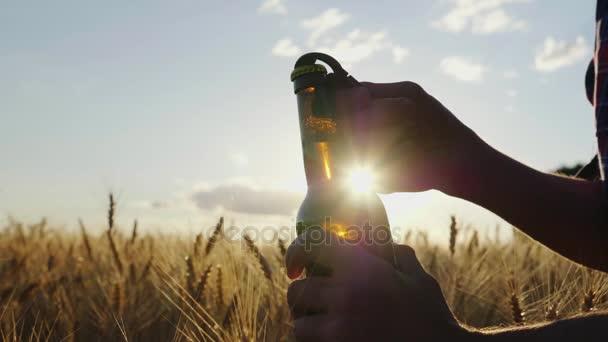 Otevřete láhev piva na pozadí pole ječmene při západu slunce. A mans hand otevře láhev, zpomalené video