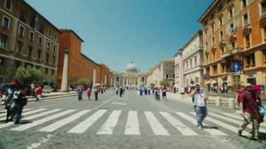 ITALY, ROME, June 2017: View of the famous St. Peters Church in Rome. Steadicam shot