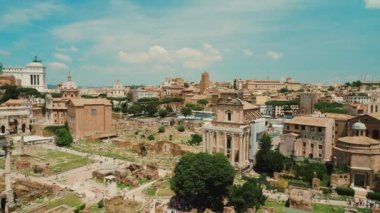 Roman Forum on a clear sunny day. One of the most famous and popular tourist destination in Rome and Italy