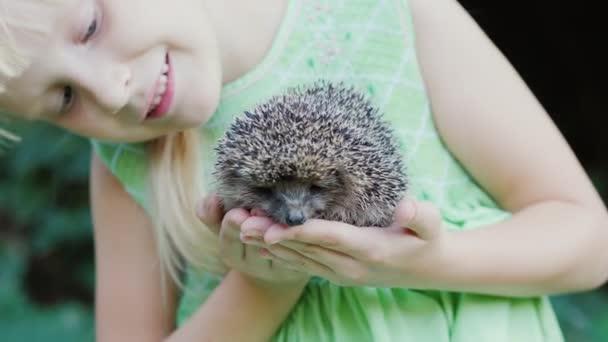 Boldog gyermek egy kis sündisznó tartja a kezében. Gyermekek és a vadon élő állatok, jól gyógyult és gondoskodó koncepciót.