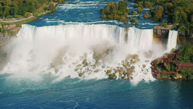 The view from above is the incredible Niagara Falls. View of the Niagara River and American Falls