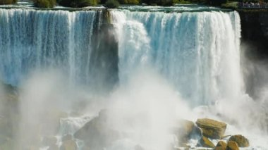 An incredible wall of Niagara Falls water. Video shot with a telephoto lens. Slow motion 180 fps video