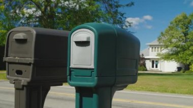 Two mailboxes. Typical Suburban Area in the United States