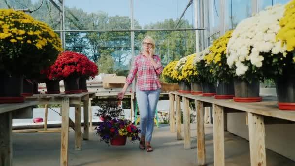 Egy nő megy egy virágbolt, magában hordozza a virágcserép, és beszél a telefonon. Vásárlás virágok koncepció