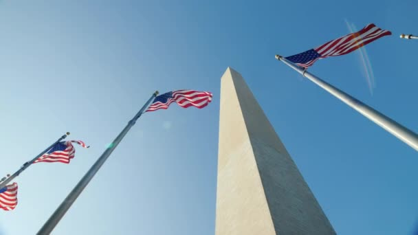 Pan shot: American flags and the Washington Monument