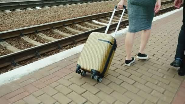 3583ea3daf69 Steadicam выстрела  два деловых партнеров с багажом ходят вдоль ...
