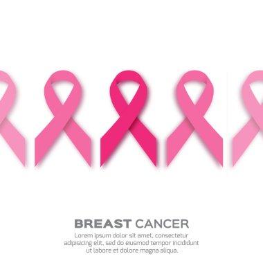 Origami Pink ribbon, paper cut breast cancer awareness symbol.