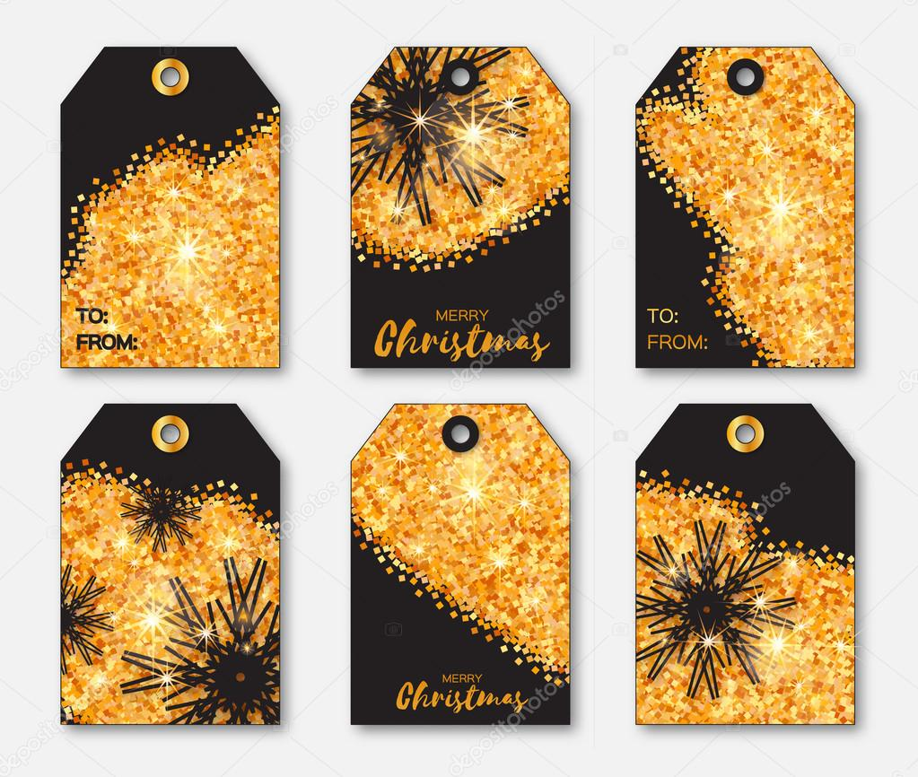 festive collection of gold glitter texture christmas labels ready to use gift tags xmas and new year set of 6 printable origami holiday label