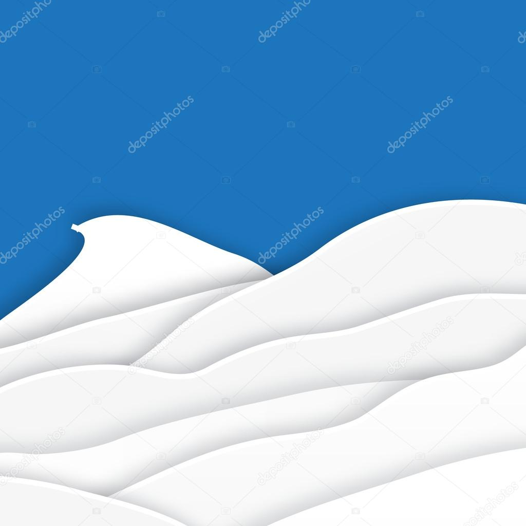 Origami snow mountains. Christmas paper cut card