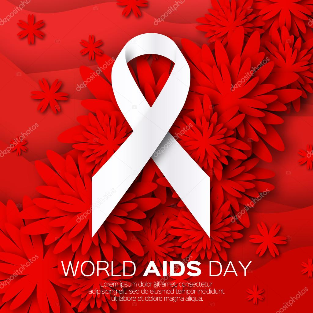 World Stop Aids Day on red origami background. Awareness.