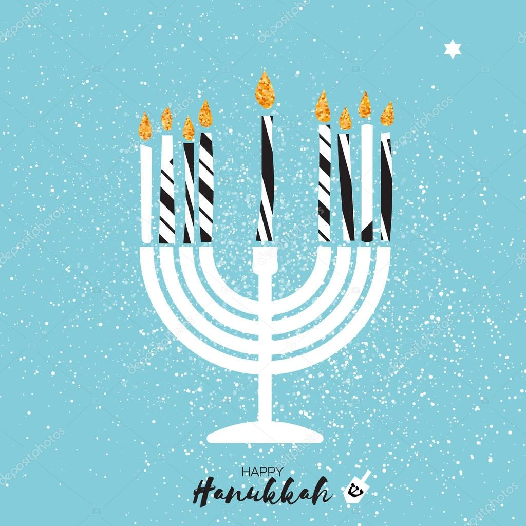 Cute happy hanukkah greeting card with gold glitter elements cute happy hanukkah greeting card with gold glitter elements on blue background jewish holiday with menorah traditional candelabracandles and dreidels m4hsunfo