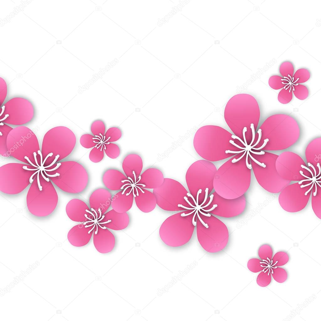 Spring Cherry blossom. Pink beautiful sakura with papercraft flowers.