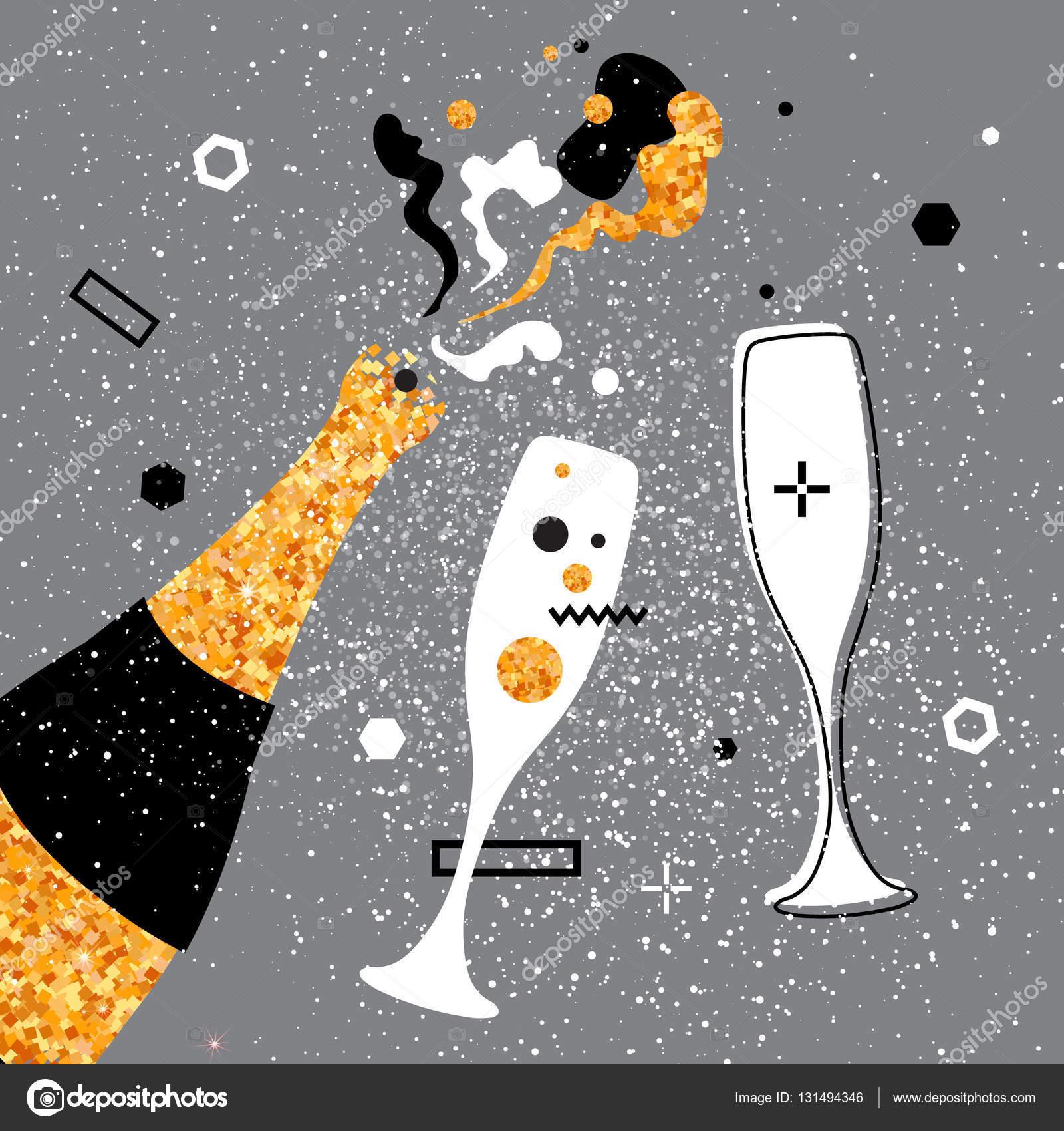 Sektgläser und Flasche. Fröhlichen Urlaub. Alkoholische Getränke ...