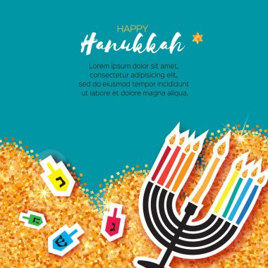 Colorful Origami Happy Hanukkah Greeting card on blue background
