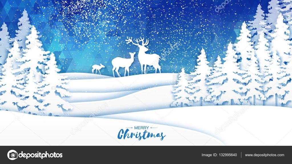 Frohe Weihnachten Schnee Winter Wald und Landschaft mit Hirsch-paar ...