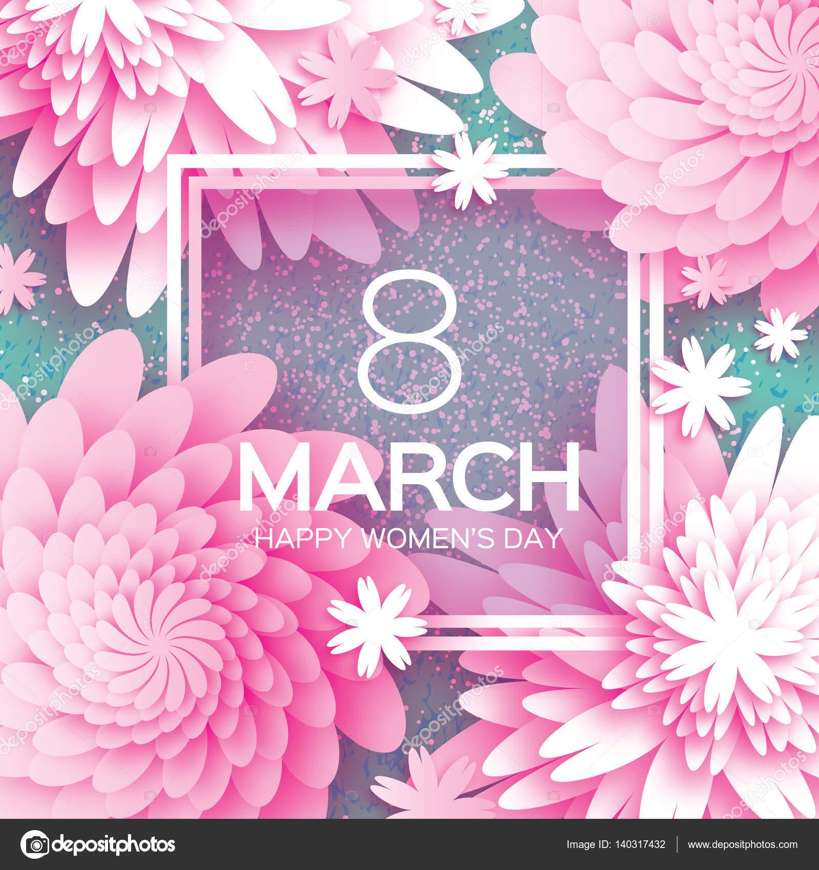 Zum Muttertag. Rosa weiße Papierblume. 8. März. Quadratischer Rahmen ...