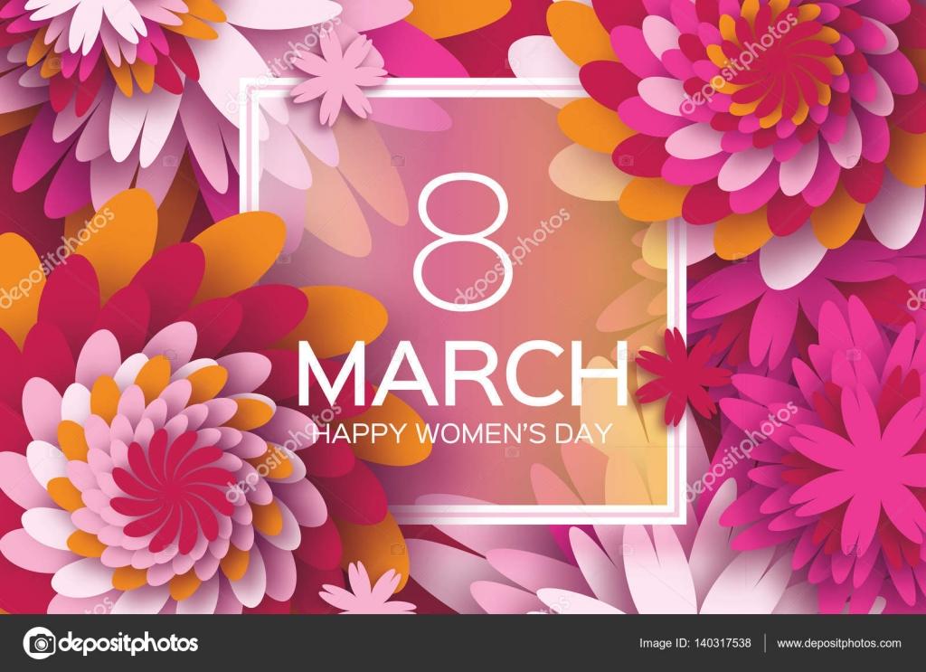 Zum Muttertag. Rosa Papierblume. 8. März. Quadratischer Rahmen ...