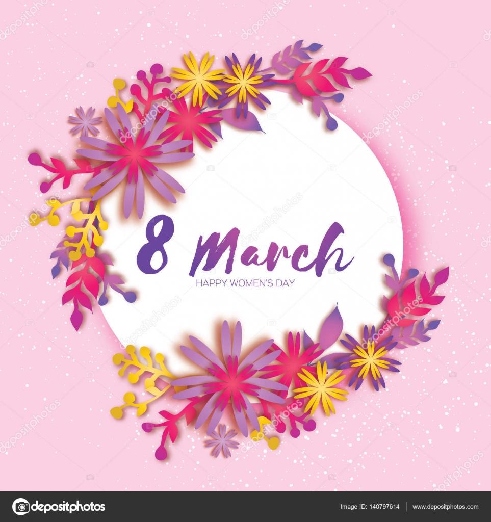 Feliz día de la madre. Flor de papel rosa. 8 de marzo. Marco de ...